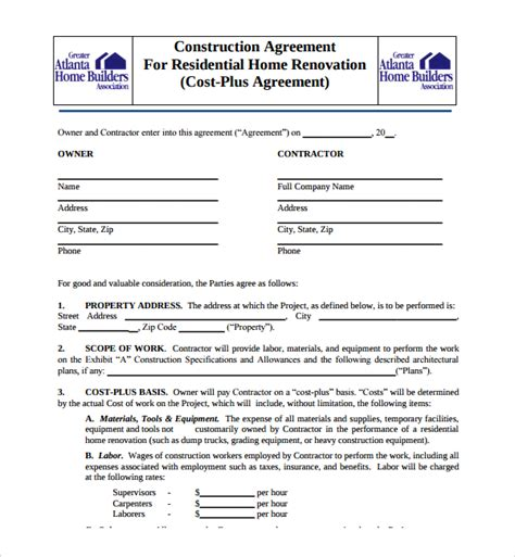 builder contract template sle construction agreement template 6 free documents