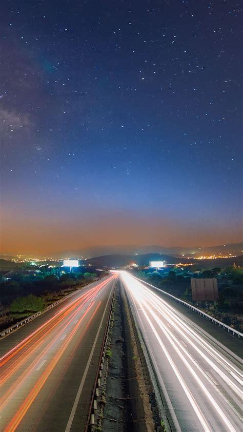 long exposure light trails cars iphone   hd wallpaper