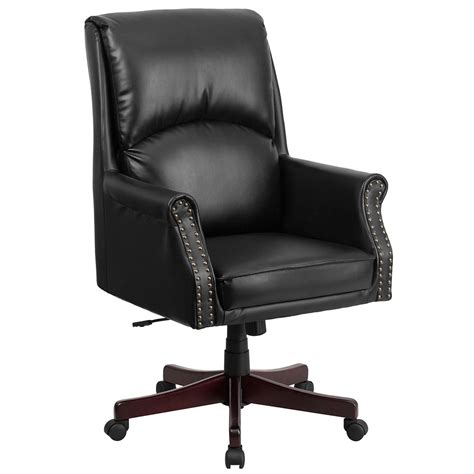High Back Pillow Back Black Leather Executive Swivel Swivel Office Chair