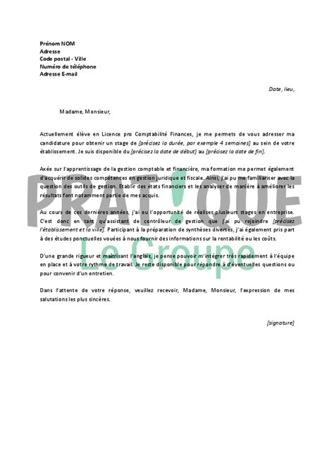 Lettre De Motivation Stage Finance Lettre De Motivation Pour Un Stage En Comptabilit 233 Finance Pratique Fr