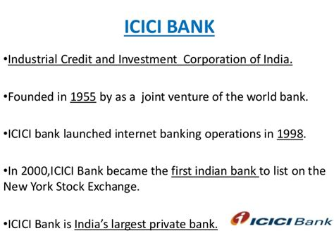 who is the founder of icici bank icici colg ppt