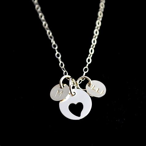 personalized necklace two initial disc necklace