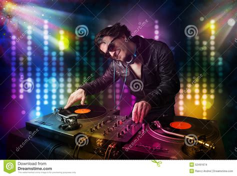 songs for light shows dj songs in a disco with light show stock