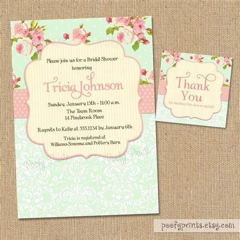 shabby chic bridal shower invitations diy printable