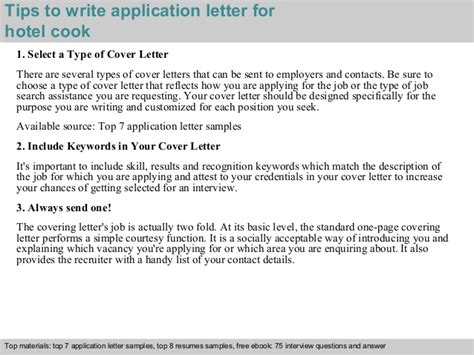 Reference Letter For Cooking Hotel Cook Application Letter