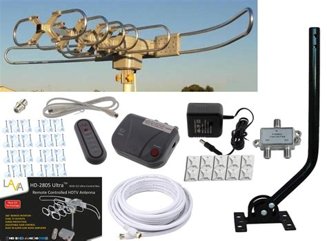 lava hd 2805 hdtv digital rotor outdoor tv antenna cable install kit w j pole