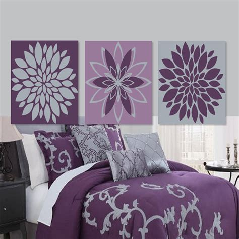 purple and gray home decor wall dahlia flower purple gray grey bedroom