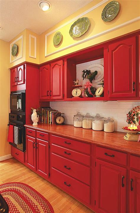 red and yellow kitchen ideas love these cabinets kitchen pinterest