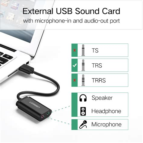 Kabel Adapter Sound Card External Usb To 3 5mm מוצר ugreen sound card external 3 5mm usb adapter audio card usb to 3 5mm earphone