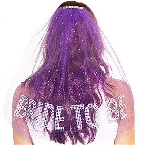 Gem Bride To Be Rhinestone Veil: Purple   RhinstoneSash.com