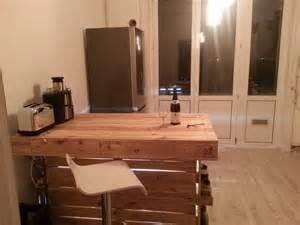 ilot central de cuisine bar en bois de palette meubles