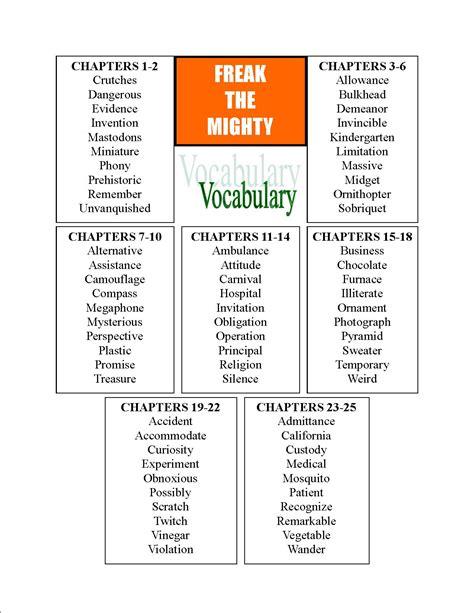 Freak The Mighty Vocabulary Worksheets freak the mighty essay freak the mighty common