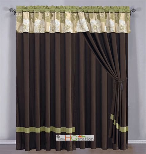 green and brown curtains 4p jacquard flower striped curtain set sage green brown