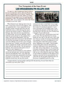 civil war 8th grade reading worksheets two viewpoints lee surrenders to grant 1865 worksheets