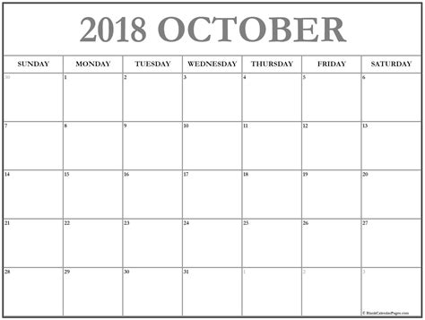 October 2018 Calendar 51 Calendar Templates Of 2018 Calendars Blank Calendar Template 2018