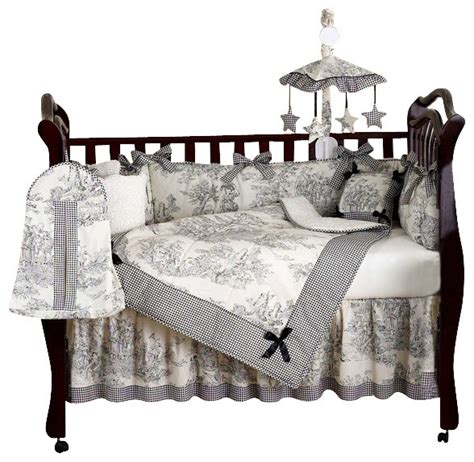 Black Crib Bedding Sets Black Toile 9 Crib Bedding Set Contemporary