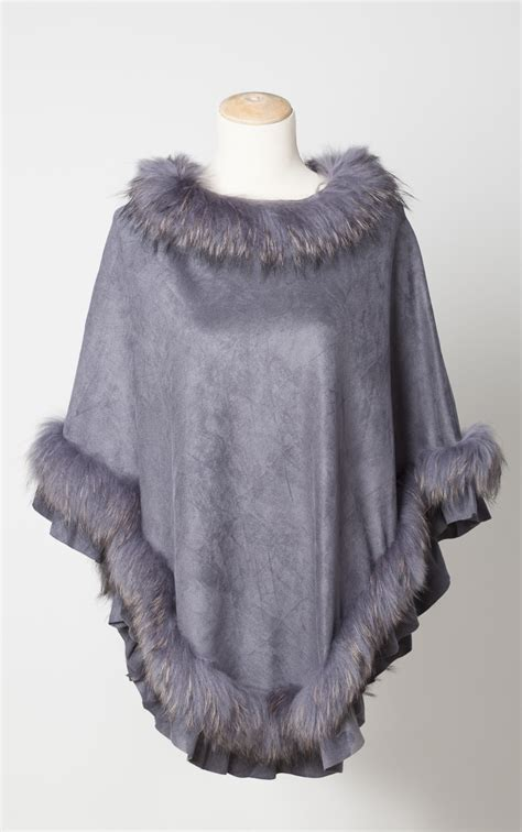 fur trimmed poncho laurie jules