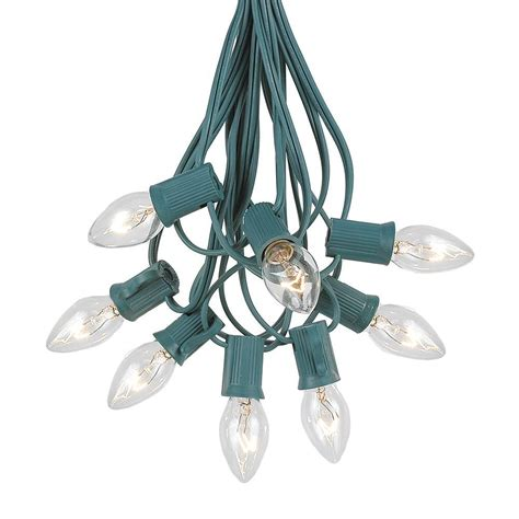 clear twinkle c7 christmas light set on green wire