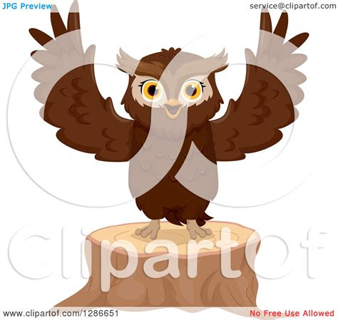 Standing Notes Owl clipart of a brown owl welcoming and standing on a tree stump royalty free vector illustration