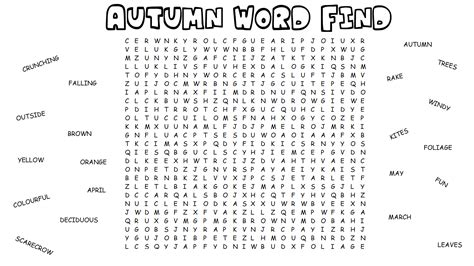 Search Activity Difficult Word Search Activity Activities For Worksheets Puzzles Autumn