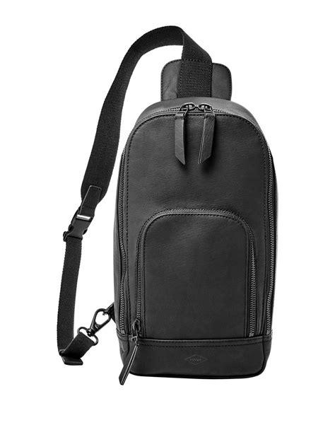 sling pack backpack fossil miller slingpack backpack in black for lyst