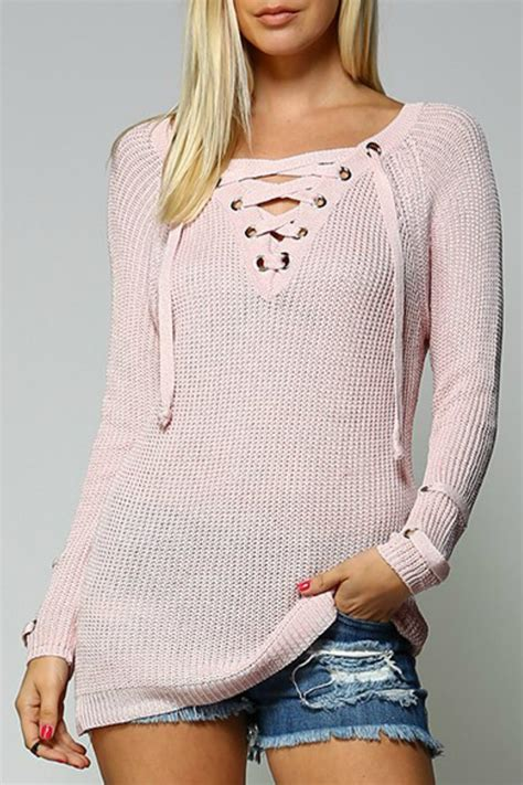 sweater lace up front aztec sweater dress