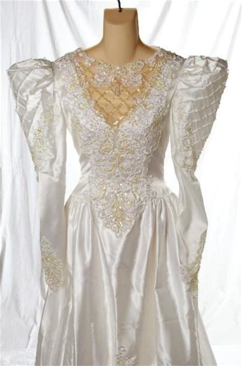 80 s style wedding dresses for sale vintage alfred angelo 80s puffy sleeve wedding dress
