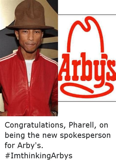 arbys spokesperson arbys congratulations pharell on being the new