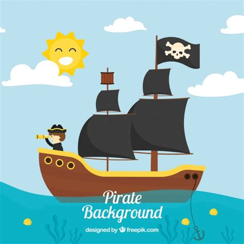 barco pirata vector landscape background with pirate ship vector free download