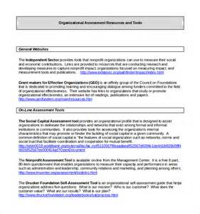 sample organizational assessment template 9 free