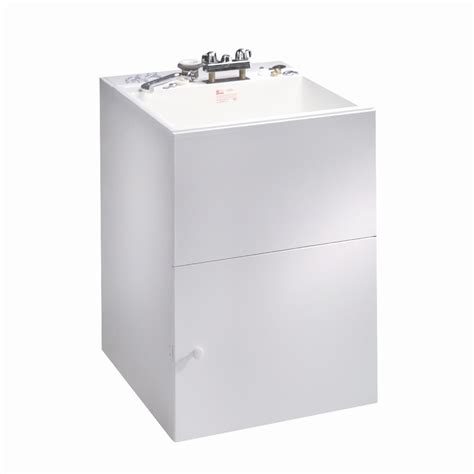 laundry sink cabinet lowes shop crane plumbing composite laundry sink in white
