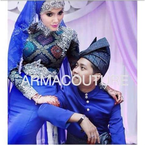 Baju Kahwin Navy Blue songket dress in royal blue by arma couture muslim wedding dress