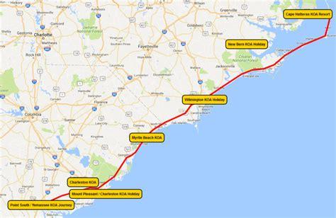 map us atlantic coast atlantic coast vacation rv trips koa cing