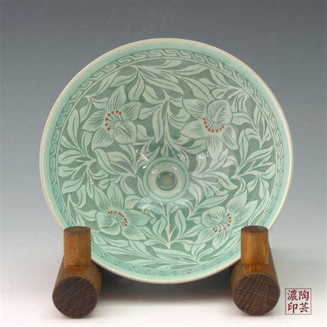 Celadon Vases Korea Tea Bowl With Inlaid Celadon Green Pottery Orchid Design