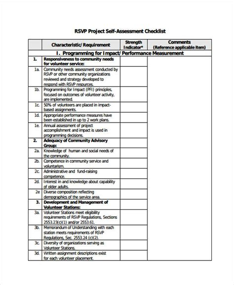 project evaluation checklist template 35 self assessment form templates pdf doc