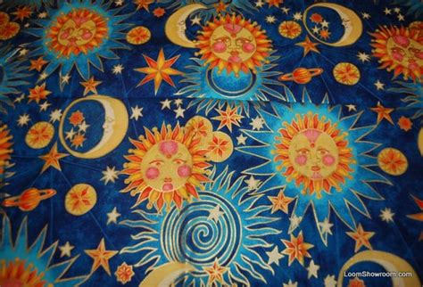 q100 golden luna alexander henry astrology retro faces sun moon stars cotton fabric quilt fabric