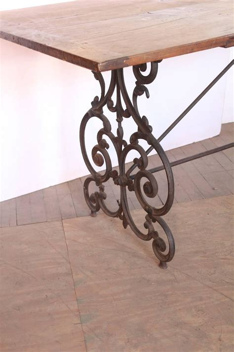 Wood And Wrought Iron Dining Tables American Wrought Iron And Wood Base Dining Table Circa 1900s At 1stdibs