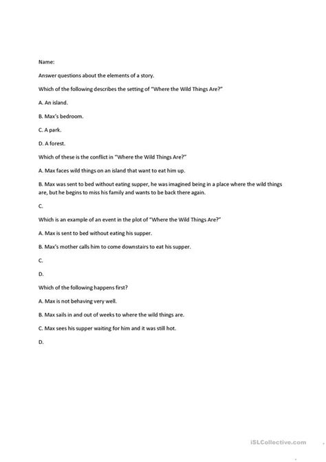 printable quiz on story elements 8 free esl story elements worksheets