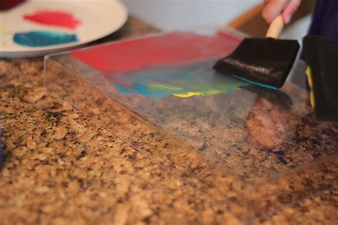 acrylic painting with foam brush house monoprinting for toddlers
