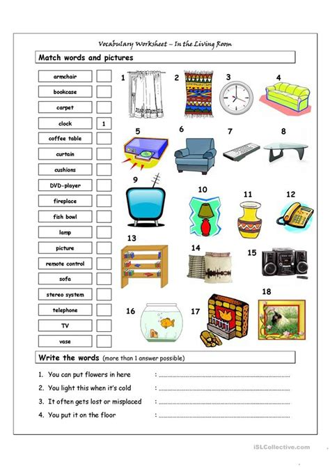 Living Room Worksheets Vocabulary Matching Worksheet In The Living Room