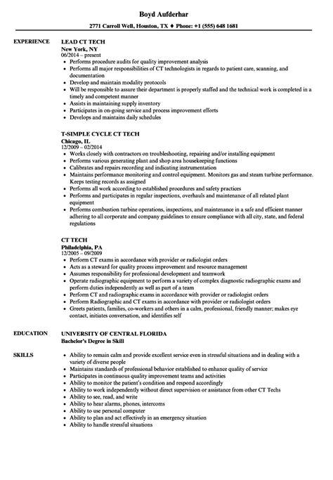 ct tech resume sles velvet