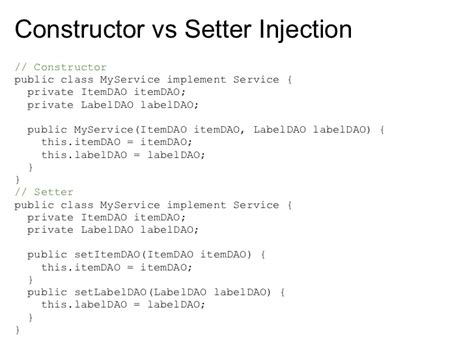 setter dependency injection spring exle introduction to spring s dependency injection