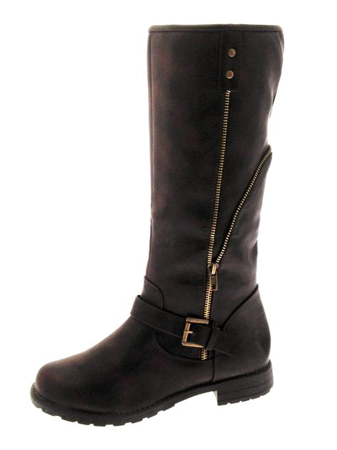 ladies biker boots womens aviator fleece lined biker boots knee length ladies