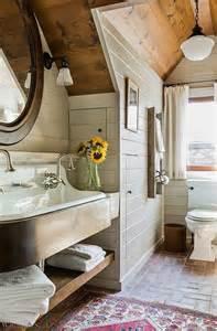 Simple fresh rustic bathroom with brick floor shiplap walls farm