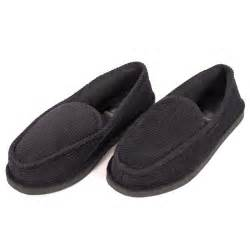 Details about mens slippers house shoes black corduroy moccasin slip