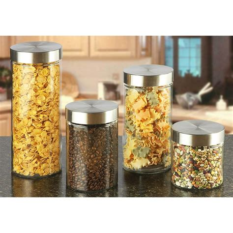 Glass Canister Set For Kitchen | 4 pc glass kitchen canister set 217394 accessories