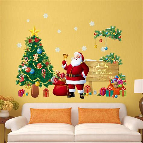 stickers on the wall decoration diy merry wall stickers decoration santa claus