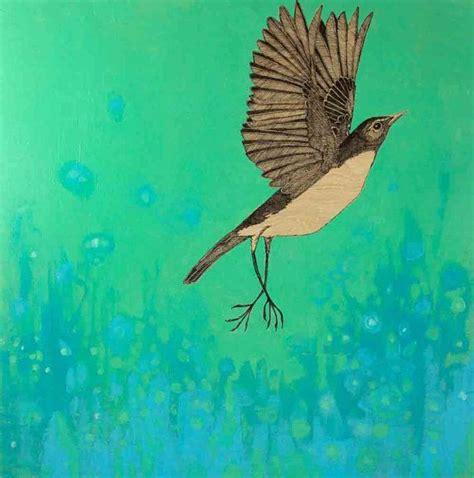 acrylic painting birds in sky flying bird against the sky mixed media ink and acrylic