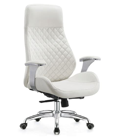 white executive chair office chair high back leather