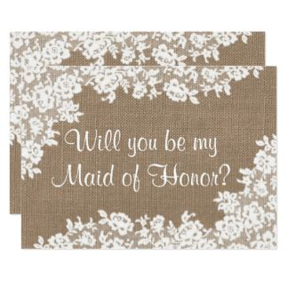 will you be my of honor template custom burlap lace wedding theme invitation cards